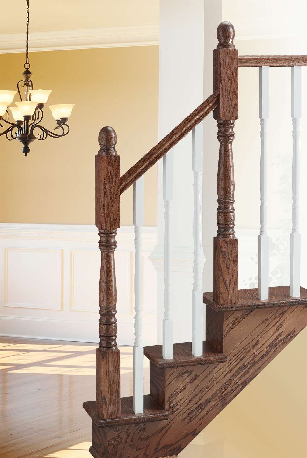 Colonial Baluster Oak Or White Lacquered Colonial Elegance